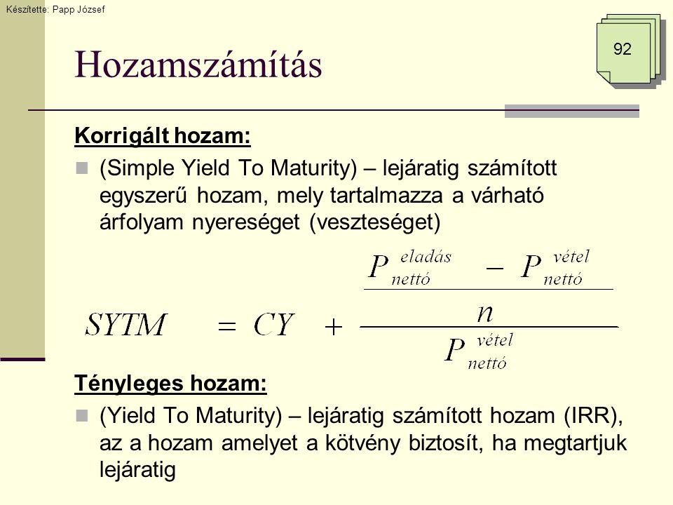 Hozamszámítás Korrigált hozam:  (Simple Yield To Maturity) – lejáratig számított egyszerű hozam, mely tartalmazza a várható árfolyam nyereséget (vesz