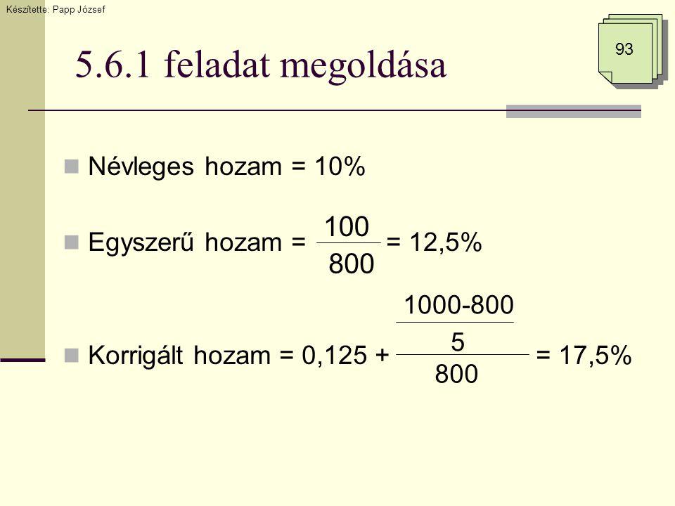 5.6.1 feladat megoldása 93 Készítette: Papp József  Névleges hozam = 10%  Egyszerű hozam = = 12,5%  Korrigált hozam = 0,125 + = 17,5% 100 800 1000-