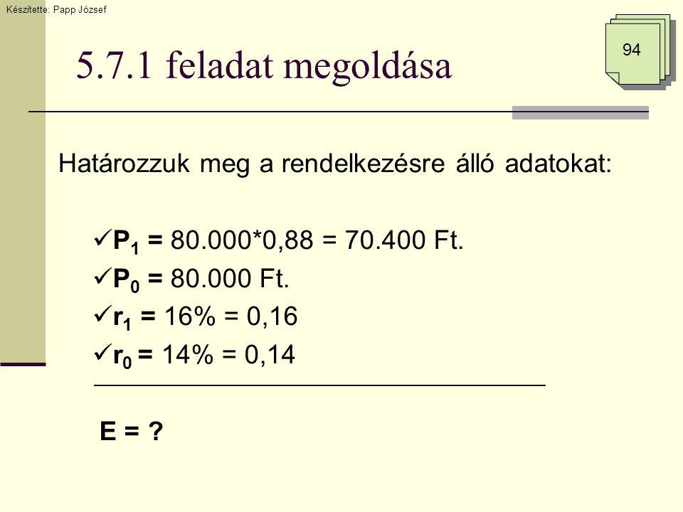 5.7.1 feladat megoldása 94 Határozzuk meg a rendelkezésre álló adatokat:  P 1 = 80.000*0,88 = 70.400 Ft.  P 0 = 80.000 Ft.  r 1 = 16% = 0,16  r 0