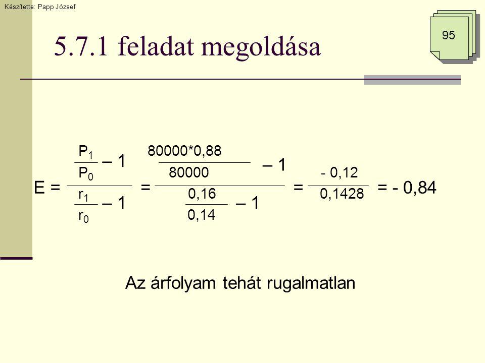 5.7.1 feladat megoldása E = – 1 == - 0,84 – 1 = Az árfolyam tehát rugalmatlan P 1 80000*0,88 P 0 80000 - 0,12 r 1 0,16 0,1428 r 0 0,14 95 Készítette: