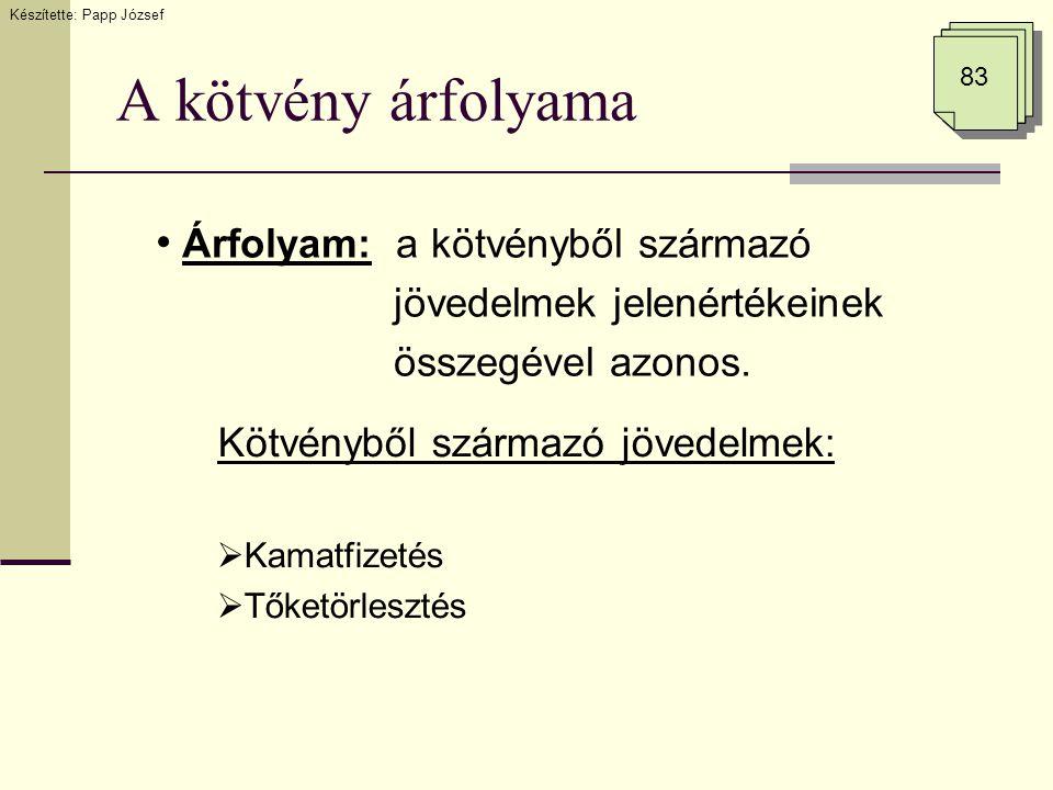 A kötvény árfolyama Időszak12…N Jövedelem - áramlás Kamatfizetés… Tőketörlesztés… 83 K1K1 (T 1 ) K2K2 (T 2 ) KNKN (T N ) Készítette: Papp József