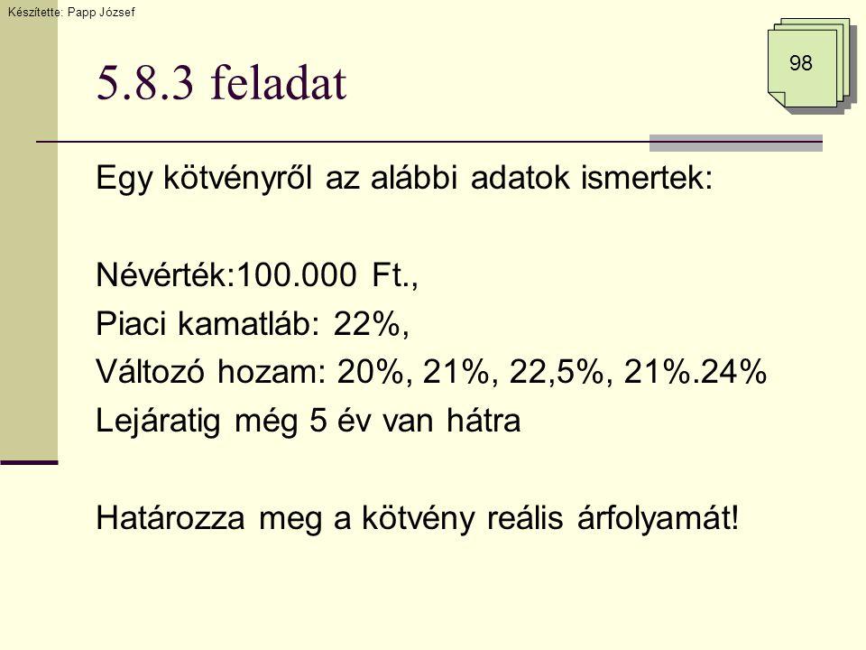 5.8.3 feladat Egy kötvényről az alábbi adatok ismertek: Névérték:100.000 Ft., Piaci kamatláb: 22%, Változó hozam: 20%, 21%, 22,5%, 21%.24% Lejáratig m