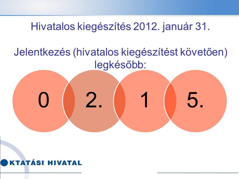 02.15. Hivatalos kiegészítés 2012. január 31.