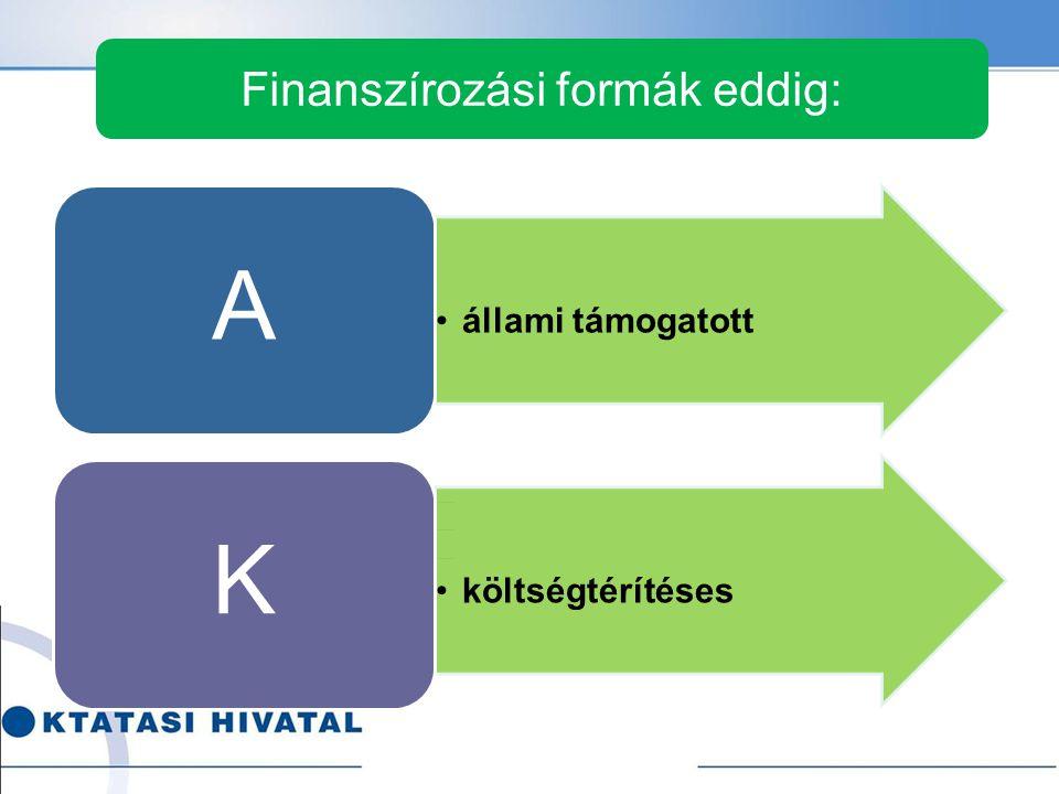 Finanszírozási formák eddig: •állami támogatott A •költségtérítéses K