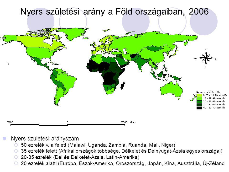 Nyers születési arány a Föld országaiban, 2006  Nyers születési arányszám  50 ezrelék v. a felett (Malawi, Uganda, Zambia, Ruanda, Mali, Niger)  35