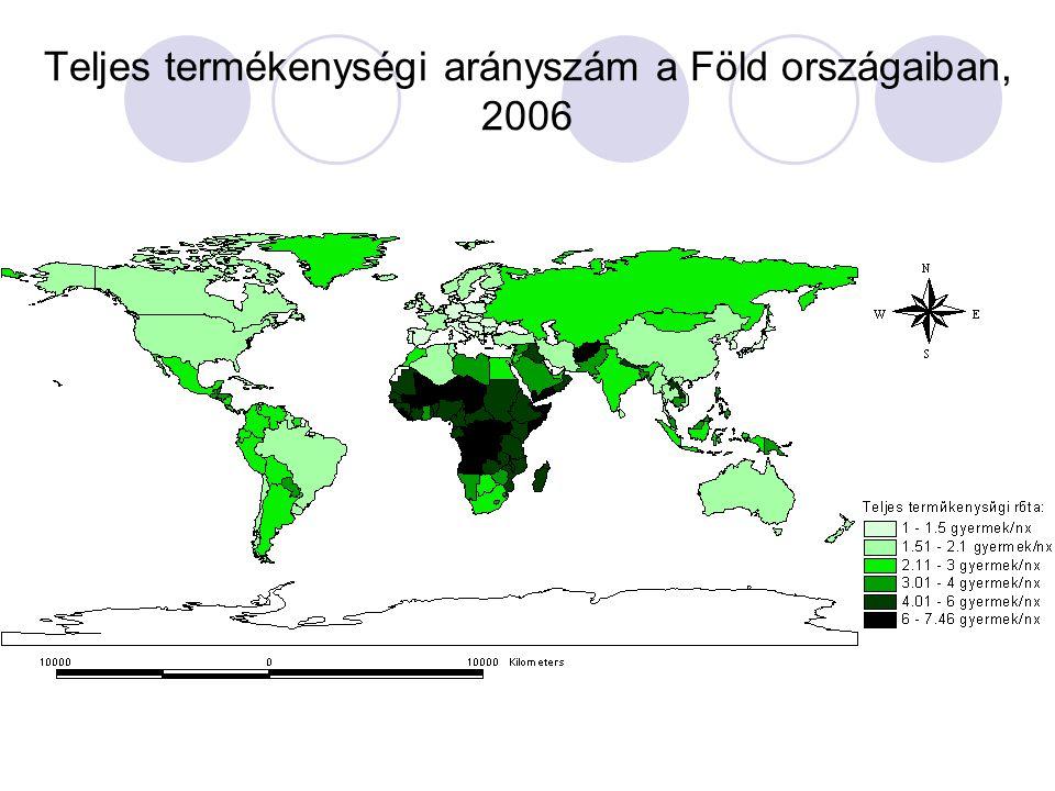 Teljes termékenységi arányszám a Föld országaiban, 2006