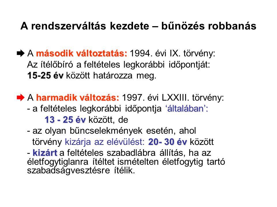 A rendszerváltás kezdete – bűnözés robbanás második változtatás: ➨ A második változtatás: 1994. évi IX. törvény: Az ítélőbíró a feltételes legkorábbi