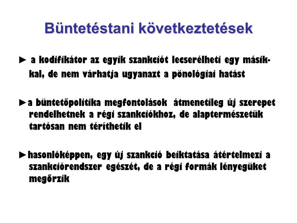 Büntetéstani következtetések ► a kodifikátor az egyik szankciót lecserélheti egy másik- kal, de nem várhatja ugyanazt a pönológiai hatást ► a büntetőp