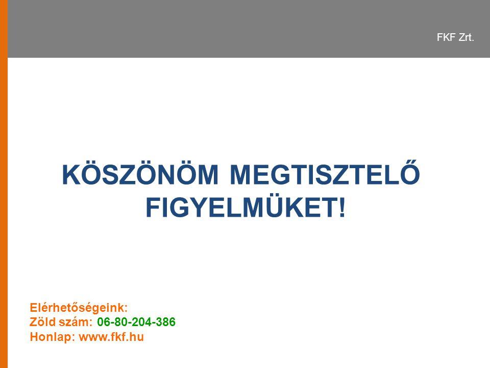 FKF Zrt. KÖSZÖNÖM MEGTISZTELŐ FIGYELMÜKET! Elérhetőségeink: Zöld szám: 06-80-204-386 Honlap: www.fkf.hu