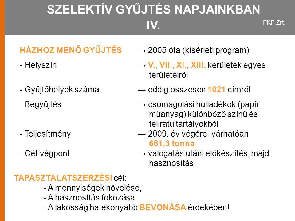 FKF Zrt. SZELEKTÍV GYŰJTÉS NAPJAINKBAN IV. HÁZHOZ MENŐ GYŰJTÉS→ 2005 óta (kísérleti program) - Helyszín→ V., VII., XI., XIII. kerületek egyes területe