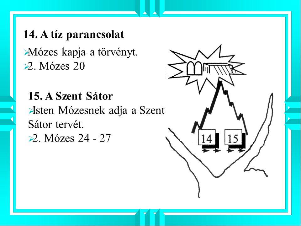 14. A tíz parancsolat 15. A Szent Sátor  Isten Mózesnek adja a Szent Sátor tervét.  2. Mózes 24 - 27  Mózes kapja a törvényt.  2. Mózes 20