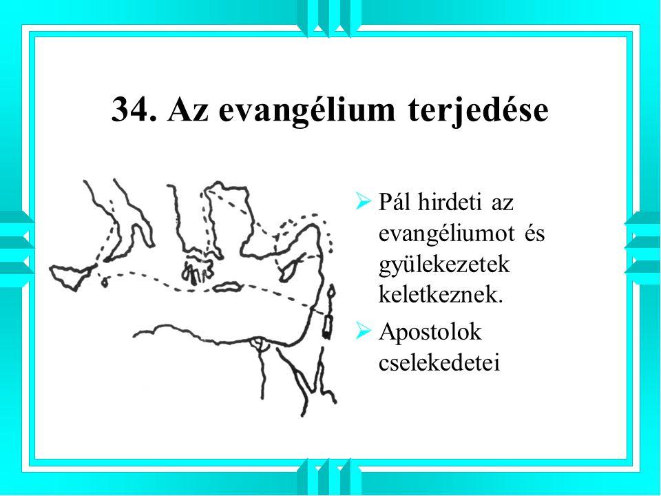34. Az evangélium terjedése  Pál hirdeti az evangéliumot és gyülekezetek keletkeznek.  Apostolok cselekedetei