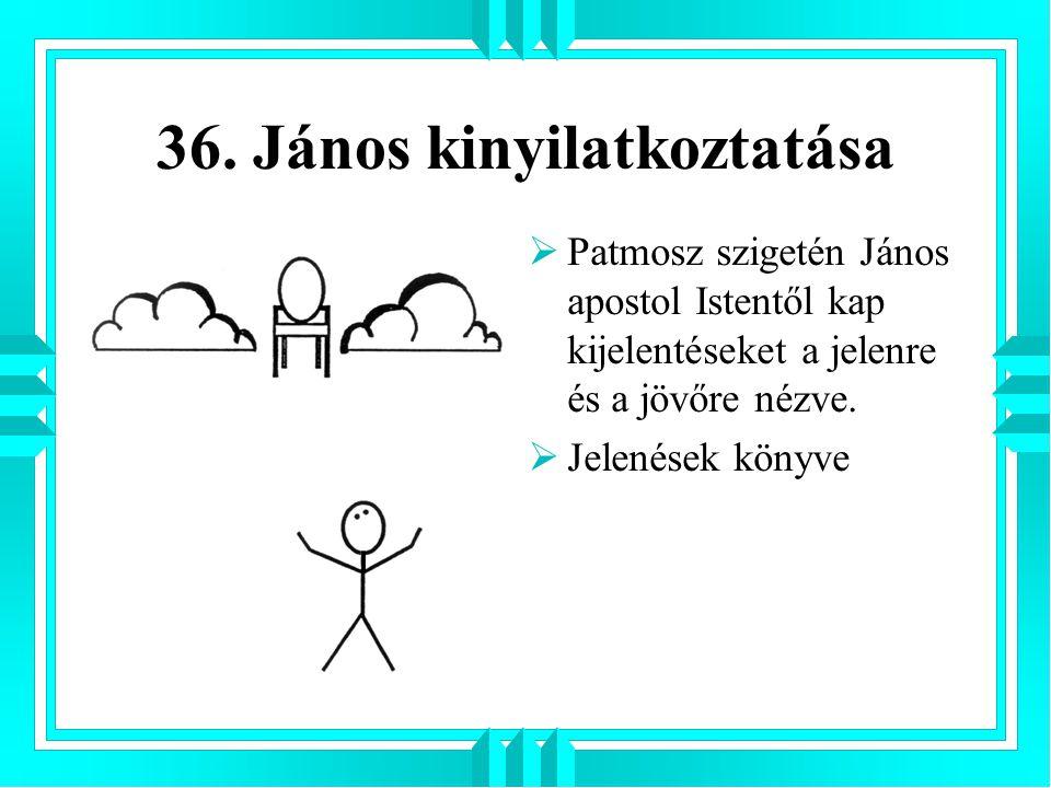 36. János kinyilatkoztatása  Patmosz szigetén János apostol Istentől kap kijelentéseket a jelenre és a jövőre nézve.  Jelenések könyve