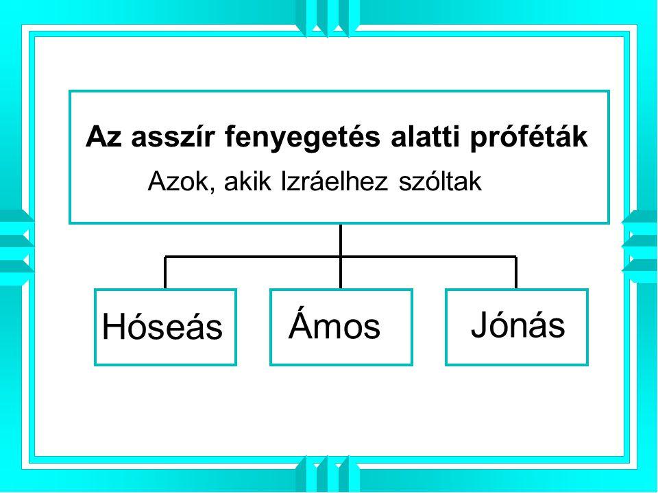 Hóseás Ámos Jónás Az asszír fenyegetés alatti próféták Azok, akik Izráelhez szóltak