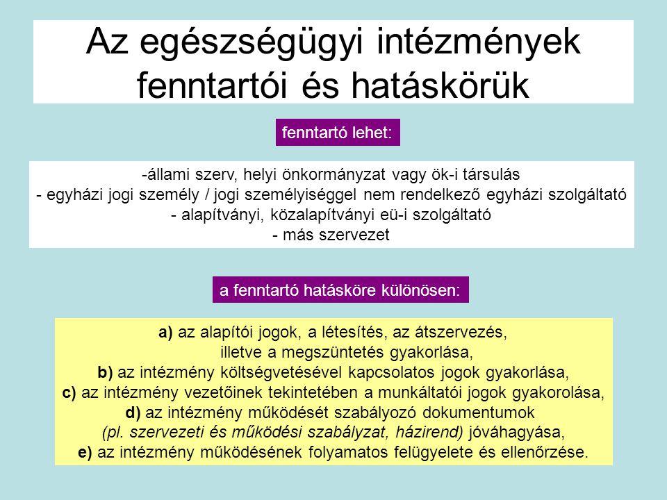 Az egészségügyi intézmények fenntartói és hatáskörük a) az alapítói jogok, a létesítés, az átszervezés, illetve a megszüntetés gyakorlása, b) az intéz