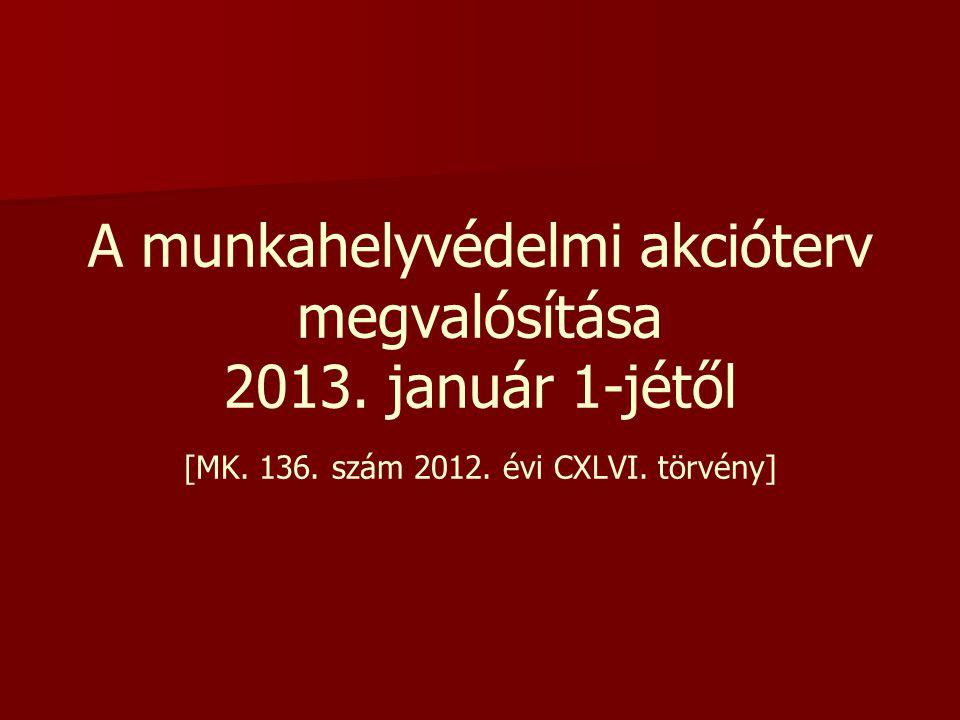 A munkahelyvédelmi akcióterv megvalósítása 2013. január 1-jétől [MK. 136. szám 2012. évi CXLVI. törvény]