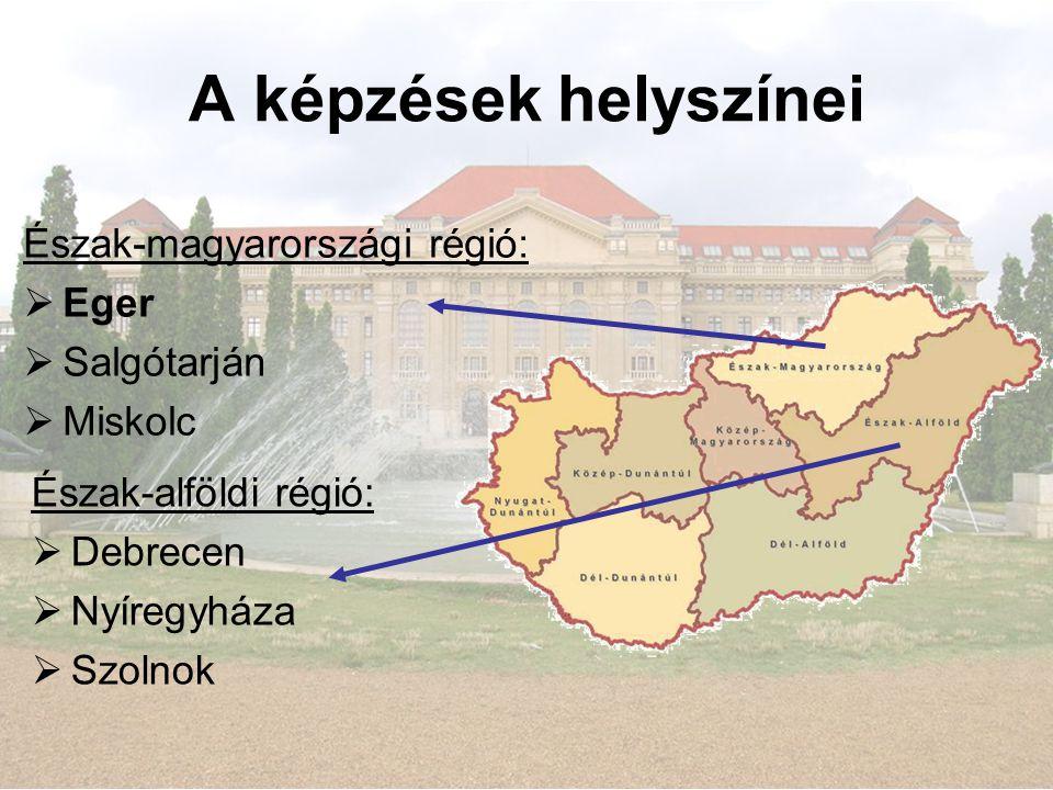 A képzések helyszínei Észak-alföldi régió:  Debrecen  Nyíregyháza  Szolnok Észak-magyarországi régió:  Eger  Salgótarján  Miskolc