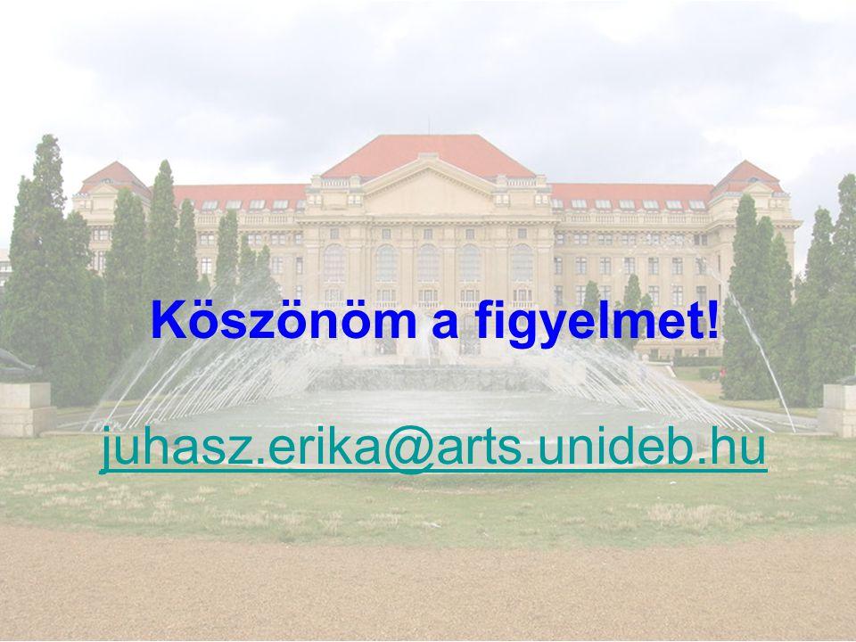 Köszönöm a figyelmet! juhasz.erika@arts.unideb.hu juhasz.erika@arts.unideb.hu