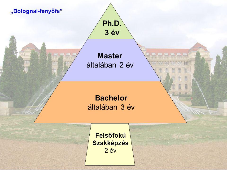 """Felsőfokú Szakképzés 2 év Bachelor általában 3 év Master általában 2 év Ph.D. 3 év """"Bolognai-fenyőfa"""""""