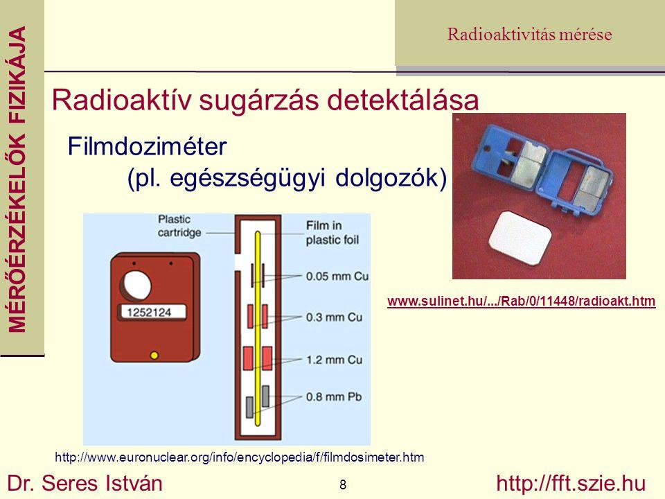 MÉRŐÉRZÉKELŐK FIZIKÁJA Dr. Seres István 8 http://fft.szie.hu Radioaktivitás mérése Radioaktív sugárzás detektálása Filmdoziméter (pl. egészségügyi dol