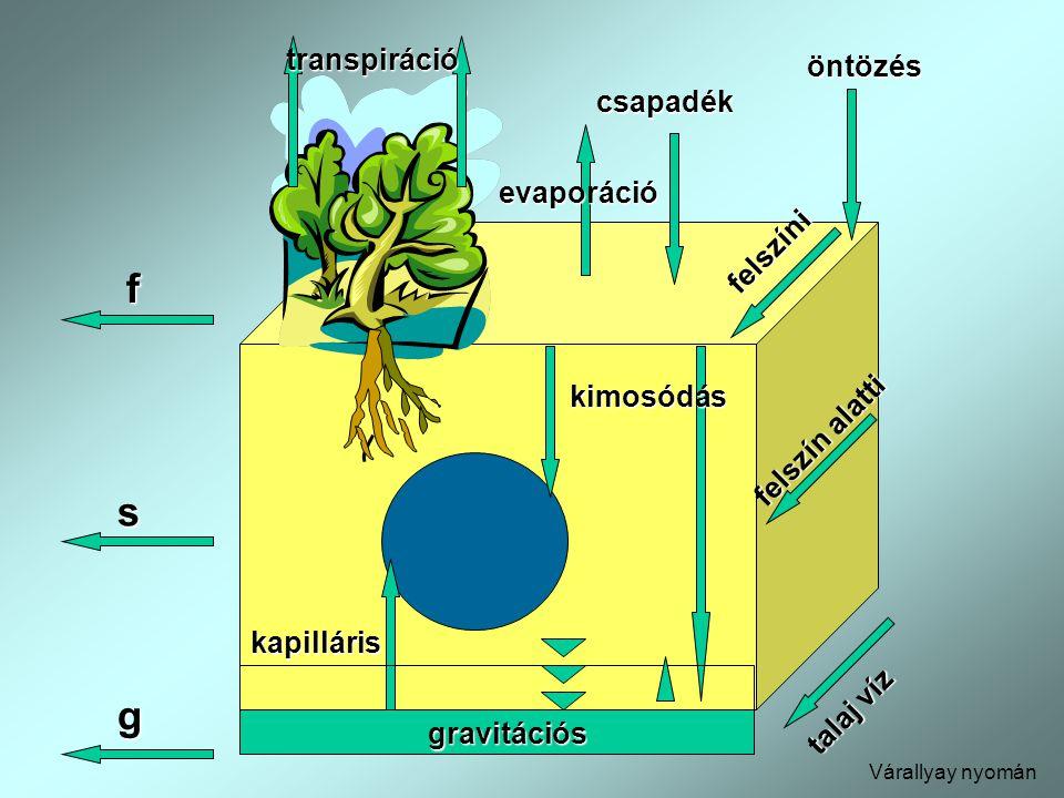 transpiráció talaj víz öntözés evaporáció csapadék felszíni felszín alatti f gravitációs kimosódás kapilláris s g Várallyay nyomán