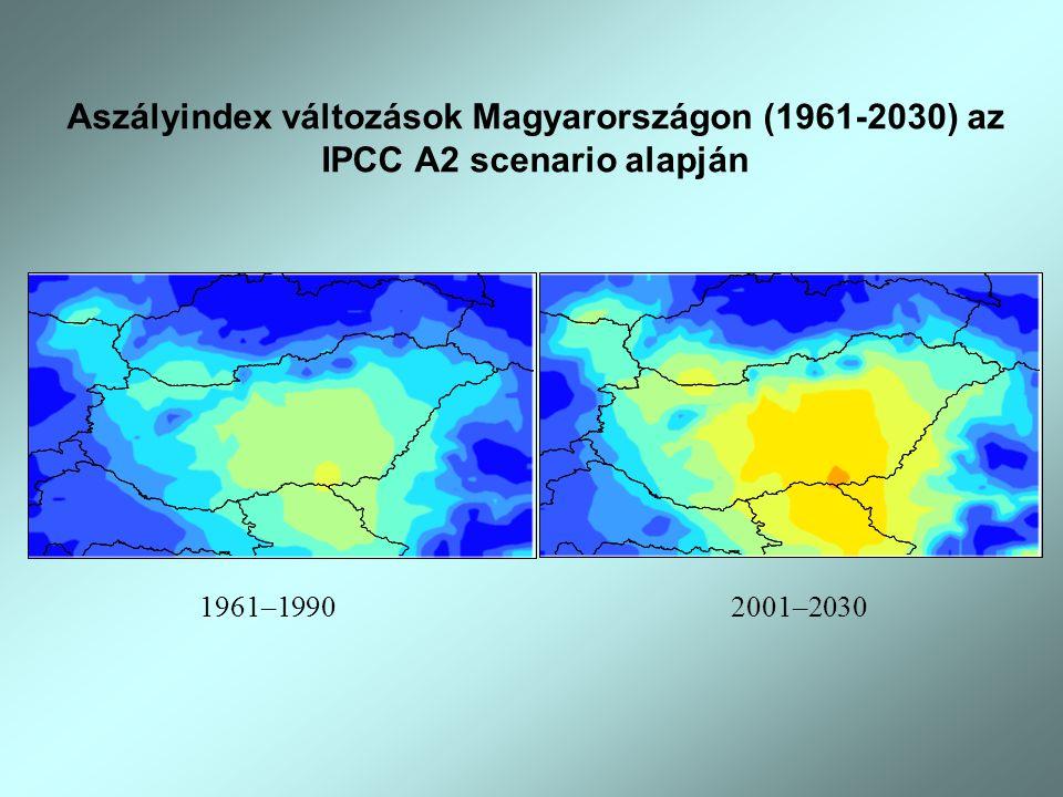 1961–19902001–2030 Aszályindex változások Magyarországon (1961-2030) az IPCC A2 scenario alapján
