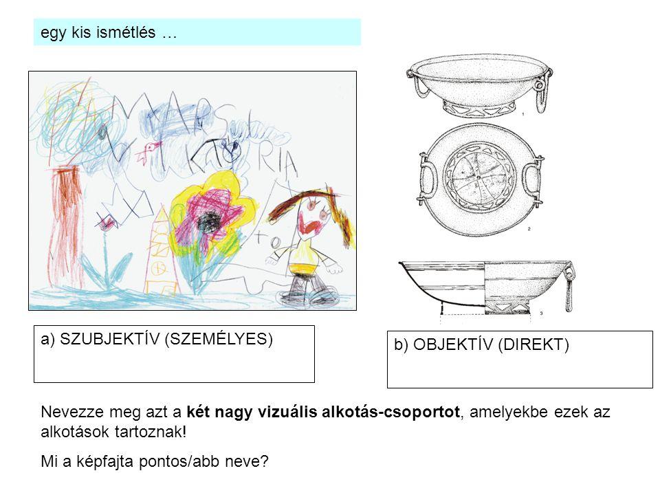 Nevezze meg azt a két nagy vizuális alkotás-csoportot, amelyekbe ezek az alkotások tartoznak! Mi a képfajta pontos/abb neve? a) SZUBJEKTÍV (SZEMÉLYES)