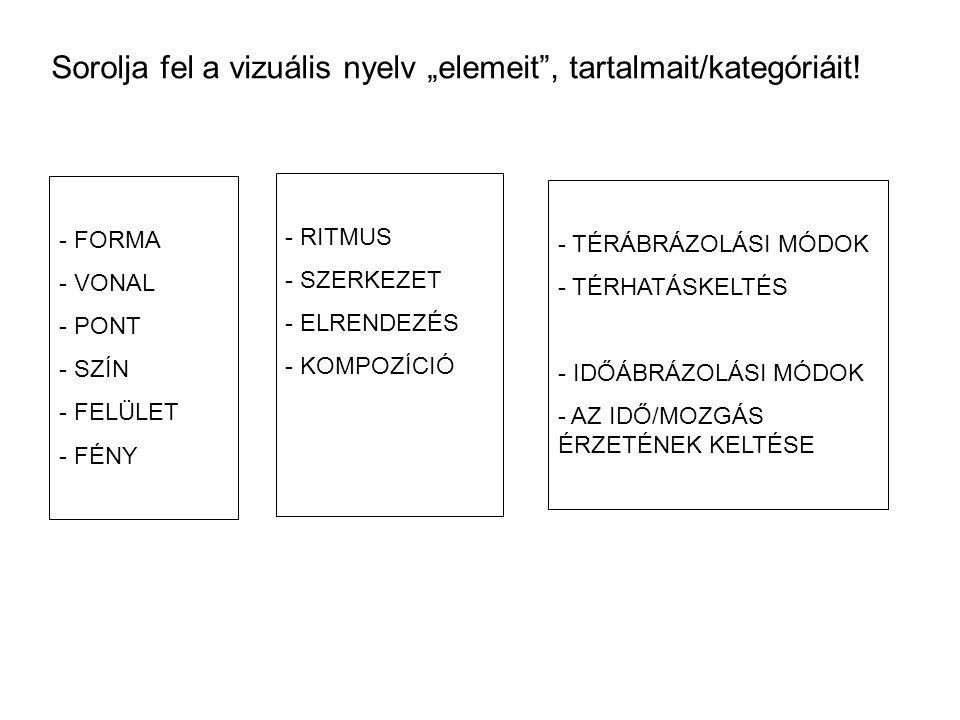 """Sorolja fel a vizuális nyelv """"elemeit"""", tartalmait/kategóriáit! - FORMA - VONAL - PONT - SZÍN - FELÜLET - FÉNY - RITMUS - SZERKEZET - ELRENDEZÉS - KOM"""