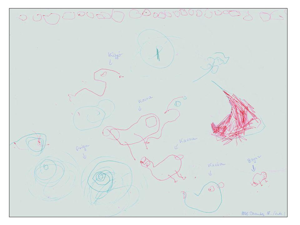 4-6. év: presematikus korszak: változó sémák, figurativitás, szórt formák, formák sorakoztatása