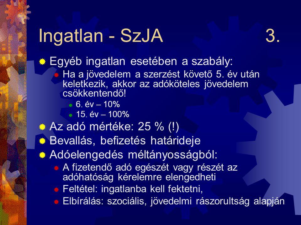 Ingatlan - SzJA3.  Egyéb ingatlan esetében a szabály:  Ha a jövedelem a szerzést követő 5.
