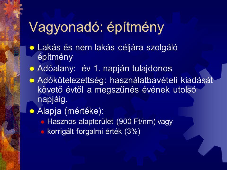 Vagyonadó: építmény  Lakás és nem lakás céljára szolgáló építmény  Adóalany: év 1.