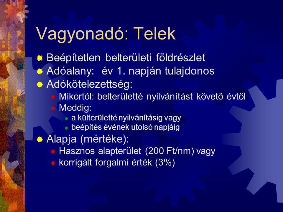Vagyonadó: Telek  Beépítetlen belterületi földrészlet  Adóalany: év 1.