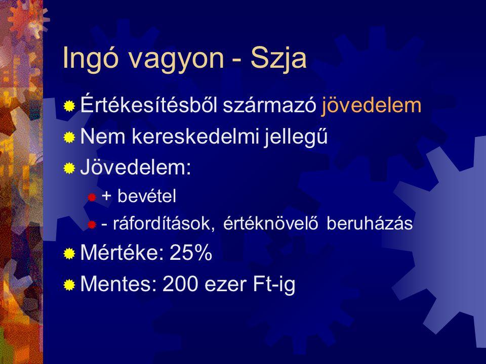 Ingó vagyon - Szja  Értékesítésből származó jövedelem  Nem kereskedelmi jellegű  Jövedelem:  + bevétel  - ráfordítások, értéknövelő beruházás  Mértéke: 25%  Mentes: 200 ezer Ft-ig