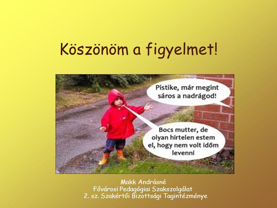 Köszönöm a figyelmet! Makk Andrásné Fővárosi Pedagógiai Szakszolgálat 2. sz. Szakértői Bizottsági Tagintézménye