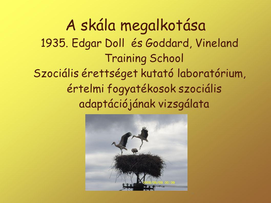 A skála megalkotása 1935. Edgar Doll és Goddard, Vineland Training School Szociális érettséget kutató laboratórium, értelmi fogyatékosok szociális ada
