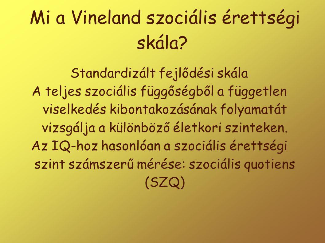 Mi a Vineland szociális érettségi skála? Standardizált fejlődési skála A teljes szociális függőségből a független viselkedés kibontakozásának folyamat
