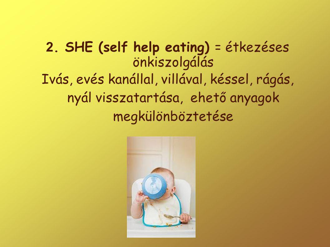 2. SHE (self help eating) = étkezéses önkiszolgálás Ivás, evés kanállal, villával, késsel, rágás, nyál visszatartása, ehető anyagok megkülönböztetése