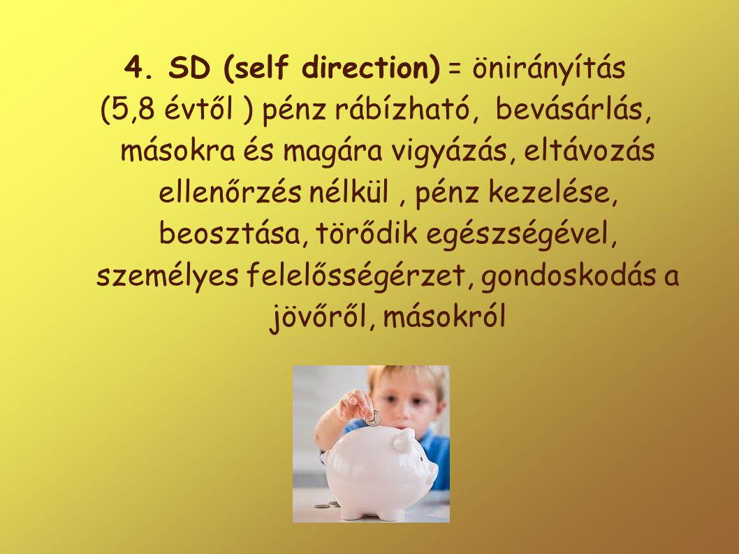 4. SD (self direction) = önirányítás (5,8 évtől ) pénz rábízható, bevásárlás, másokra és magára vigyázás, eltávozás ellenőrzés nélkül, pénz kezelése,