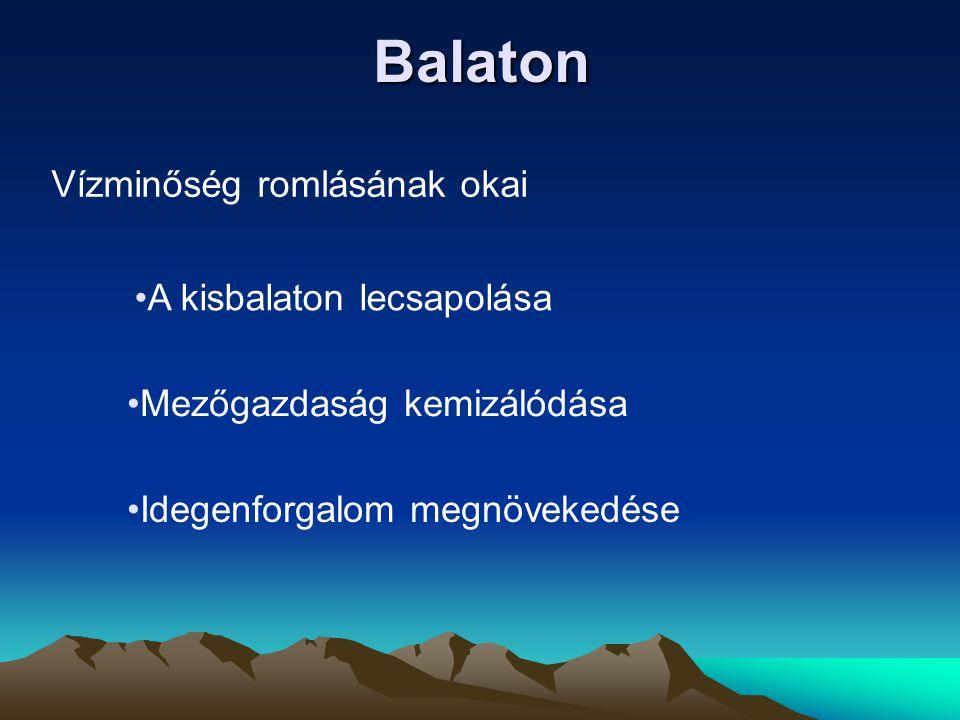 Balaton Vízminőség romlásának okai •A kisbalaton lecsapolása •Mezőgazdaság kemizálódása •Idegenforgalom megnövekedése