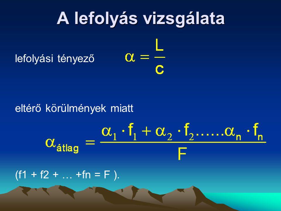 A lefolyás vizsgálata lefolyási tényező eltérő körülmények miatt (f1 + f2 + … +fn = F ).