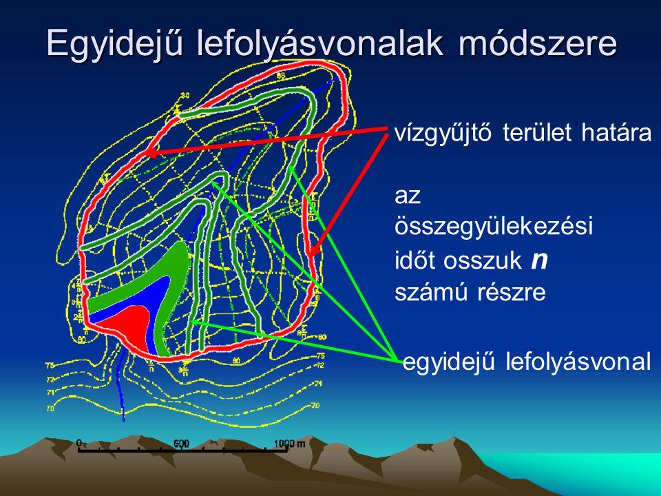 az összegyülekezési időt osszuk n számú részre vízgyűjtő terület határa Egyidejű lefolyásvonalak módszere