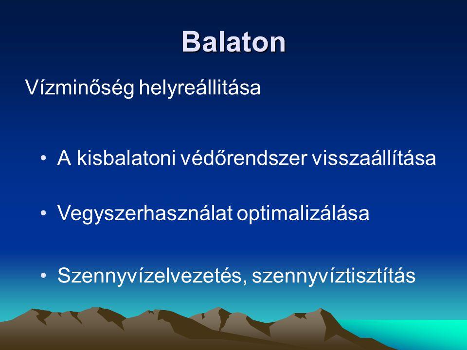 Balaton •A kisbalatoni védőrendszer visszaállítása Vízminőség helyreállitása •Szennyvízelvezetés, szennyvíztisztítás •Vegyszerhasználat optimalizálása