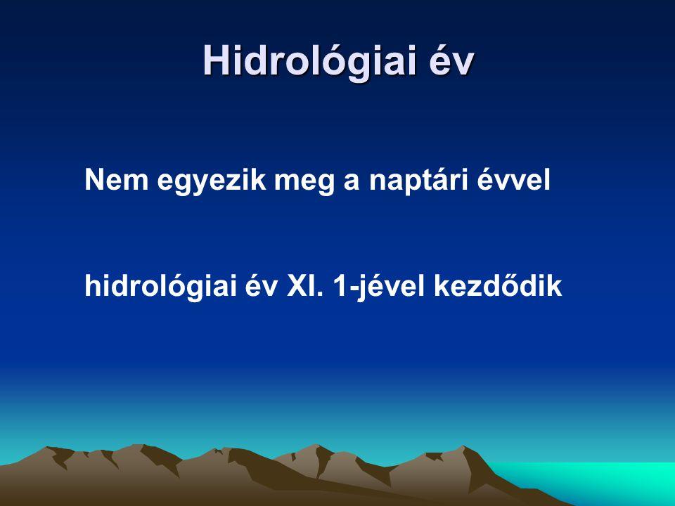 Hidrológiai év Nem egyezik meg a naptári évvel hidrológiai év XI. 1-jével kezdődik