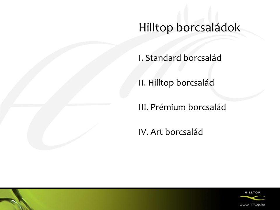Hilltop borcsaládok I. Standard borcsalád II. Hilltop borcsalád III. Prémium borcsalád IV. Art borcsalád