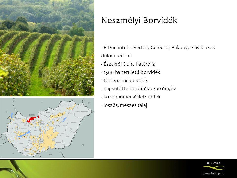 Neszmélyi Borvidék - É-Dunántúl – Vértes, Gerecse, Bakony, Pilis lankás dűlőin terül el - Északról Duna határolja - 1500 ha területű borvidék - történelmi borvidék - napsütötte borvidék 2200 óra/év - középhőmérséklet: 10 fok - löszös, meszes talaj