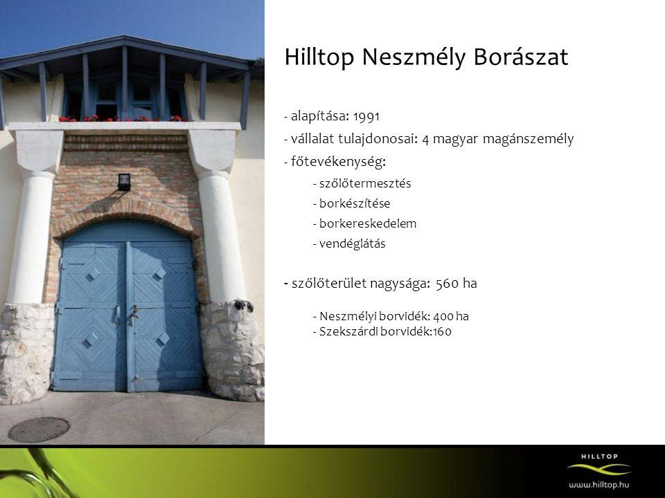Hilltop Neszmély Borászat - alapítása: 1991 - vállalat tulajdonosai: 4 magyar magánszemély - főtevékenység: - szőlőtermesztés - borkészítése - borkere