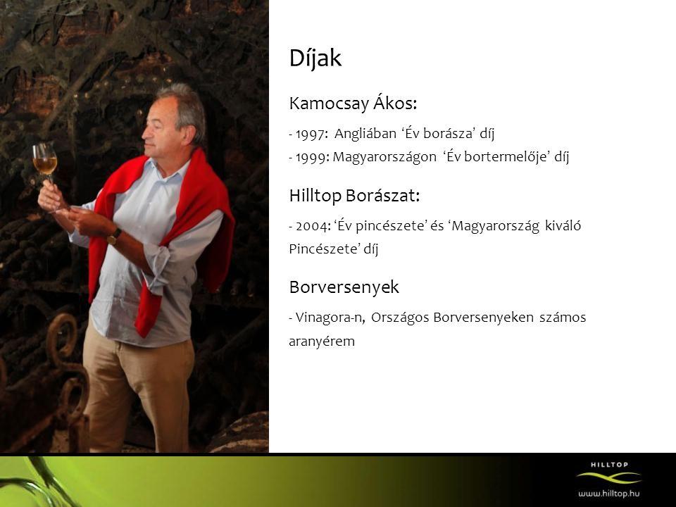 Díjak Kamocsay Ákos: - 1997: Angliában 'Év borásza' díj - 1999: Magyarországon 'Év bortermelője' díj Hilltop Borászat: - 2004: 'Év pincészete' és 'Mag