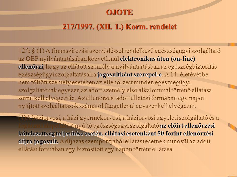 OJOTE 217/1997. (XII. 1.) Korm. rendelet elektronikus úton (on-line) ellenőrzi jogosultként szerepel-e 12/b § (1) A finanszírozási szerződéssel rendel