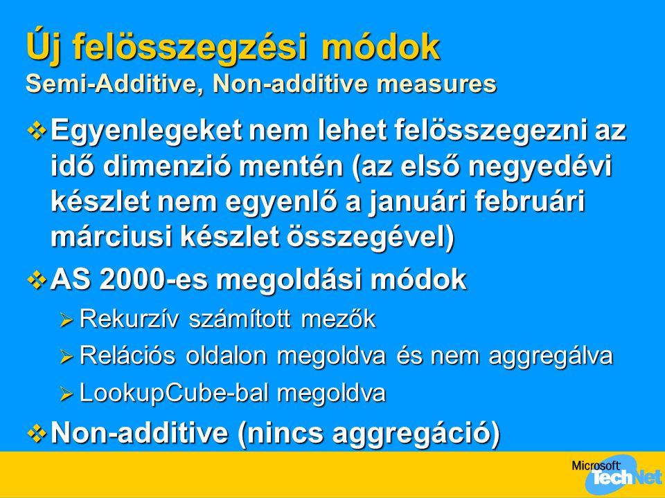 Új felösszegzési módok Semi-Additive, Non-additive measures  Egyenlegeket nem lehet felösszegezni az idő dimenzió mentén (az első negyedévi készlet nem egyenlő a januári februári márciusi készlet összegével)  AS 2000-es megoldási módok  Rekurzív számított mezők  Relációs oldalon megoldva és nem aggregálva  LookupCube-bal megoldva  Non-additive (nincs aggregáció)