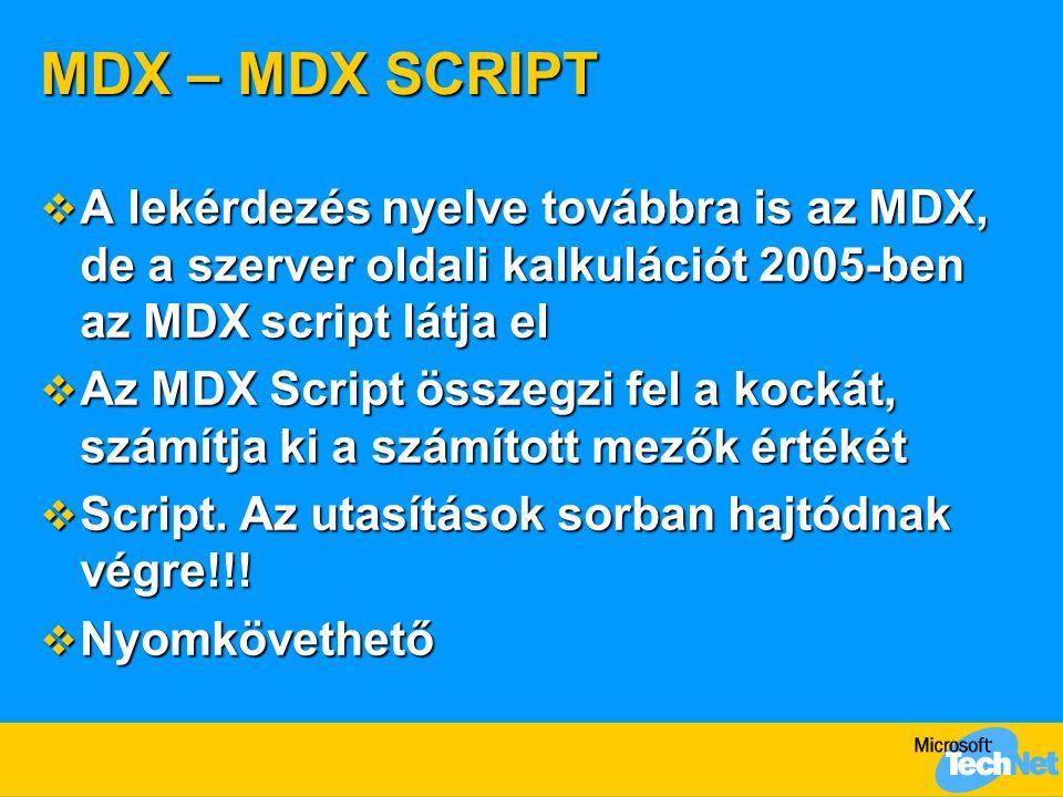 MDX – MDX SCRIPT  A lekérdezés nyelve továbbra is az MDX, de a szerver oldali kalkulációt 2005-ben az MDX script látja el  Az MDX Script összegzi fel a kockát, számítja ki a számított mezők értékét  Script.